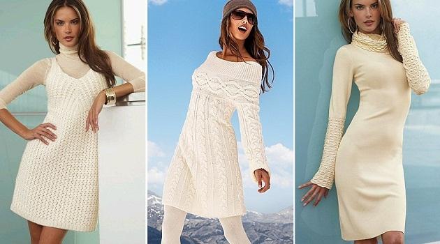 Белые платья вязаные
