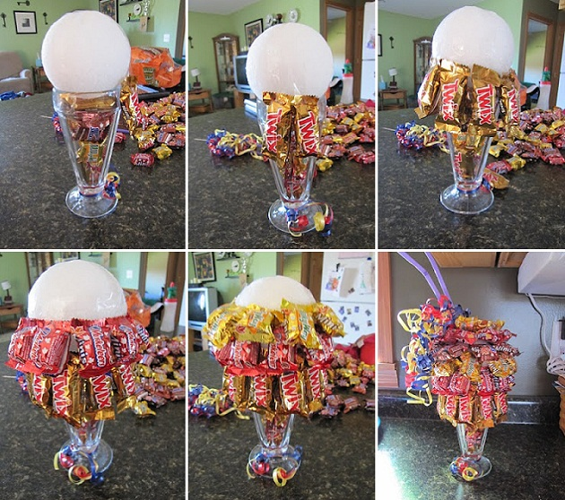 Корзина с цветами из конфет своими руками мастер класс