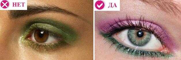 Ошибки макияжа зеленых глаз